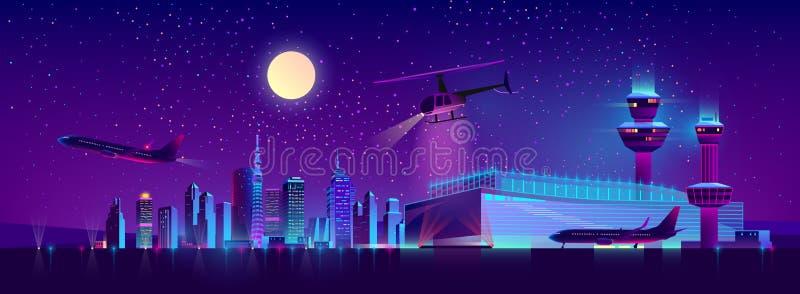 Wektorowy nocy lotnisko z samolotem i helikopterem ilustracji