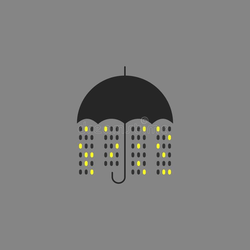 Wektorowy nocy miasta deszcz ilustracji