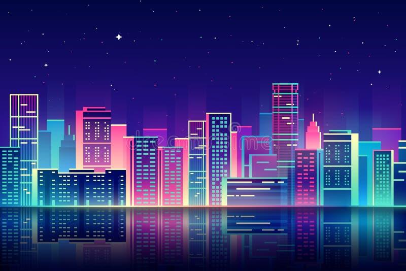 Wektorowy nocy miasto z neonową jarzeniową ilustracją ilustracja wektor