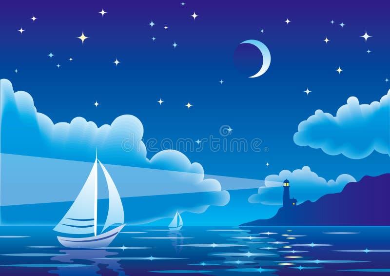 Wektorowy nocy seascape z żaglówką i latarnią morską ilustracji