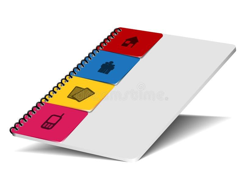 Wektorowy notepad z kontaktowymi bookmarks ilustracja wektor