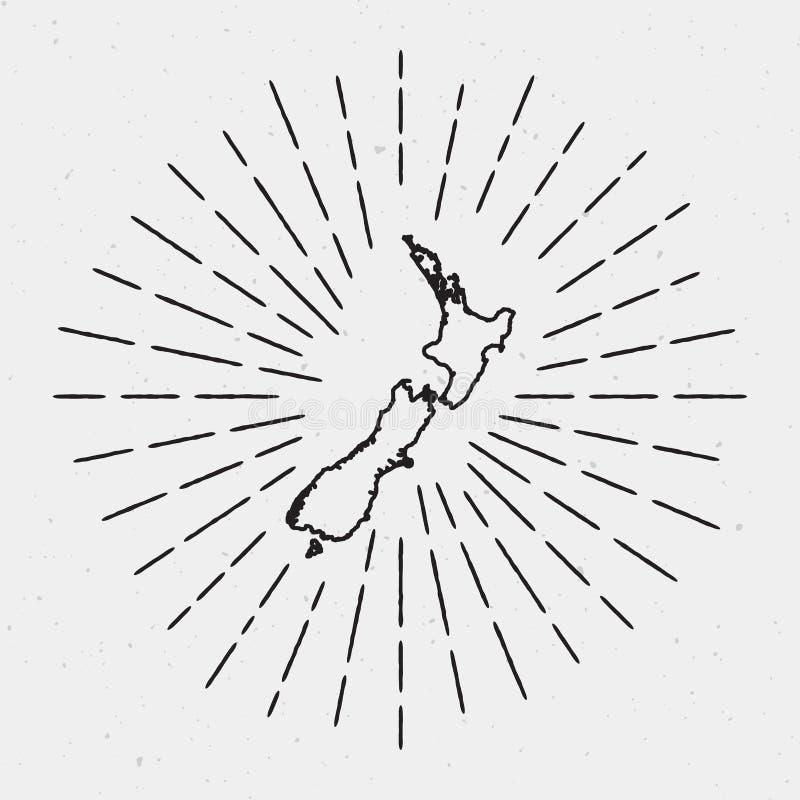 Wektorowy Nowa Zelandia mapy kontur z Retro ilustracja wektor