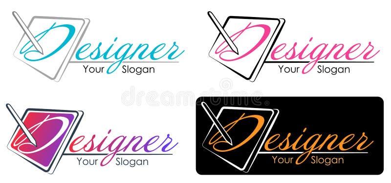 Wektorowy nowożytnego projekta stylu logo szablon dla Wektorowej grafiki, cyfrowego rysunku znaka i symbolu dla cre projektant gr ilustracji