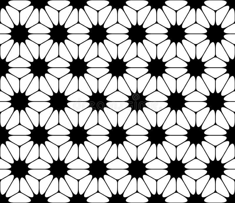 Wektorowy nowożytny bezszwowy święty geometria wzór kwiecisty, czarny i biały abstrakt ilustracji