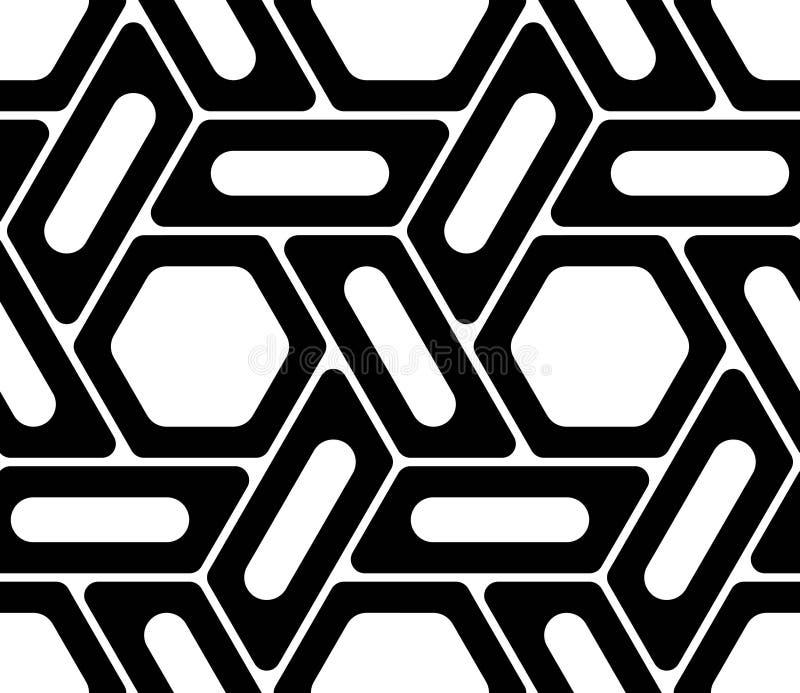 Wektorowy nowożytny bezszwowy geometria wzoru sześciokąt, czarny i biały abstrakt royalty ilustracja