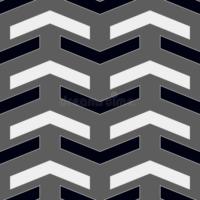 Wektorowy nowożytny bezszwowy geometria wzoru szewron, czarny i biały abstrakcjonistyczny geometryczny tło, subtelny poduszka dru royalty ilustracja