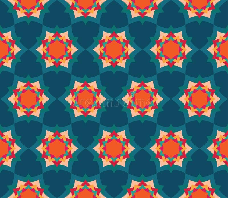 Wektorowy nowożytny bezszwowy kolorowy geometria płatka kwiatu mandala wzór, barwi błękitnego abstrakt ilustracja wektor
