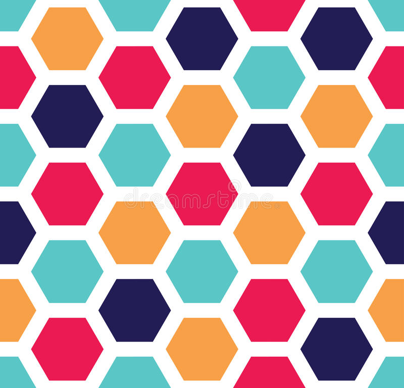 Wektorowy nowożytny bezszwowy kolorowy geometria sześciokąta wzór, koloru abstrakt ilustracja wektor