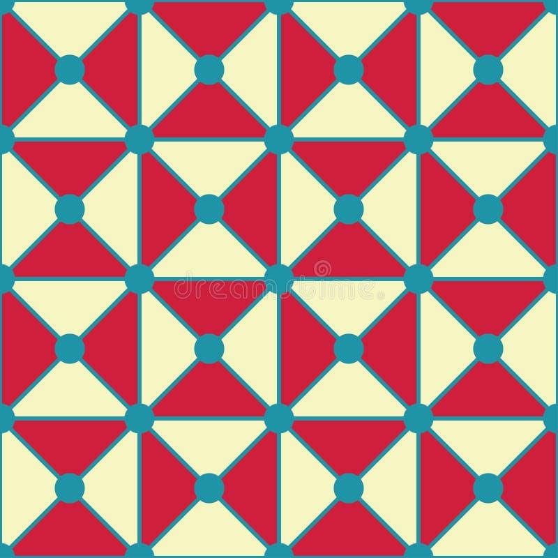 Wektorowy nowożytny bezszwowy kolorowy geometria trójboków kropek wzór, koloru czerwony biały abstrakt ilustracja wektor