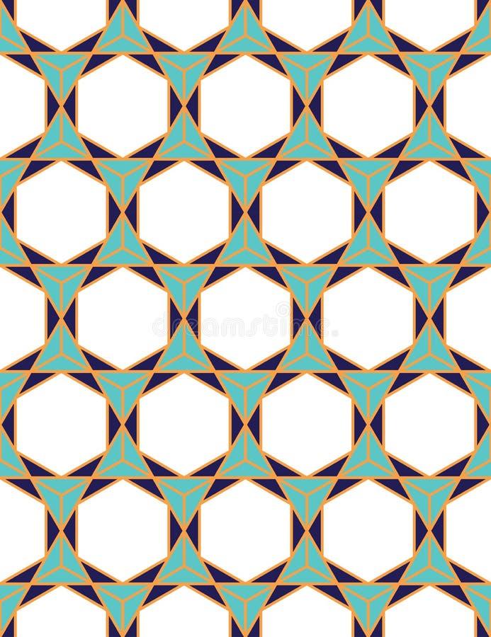 Wektorowy nowożytny bezszwowy kolorowy geometria wzoru trójboka wielobok ilustracji