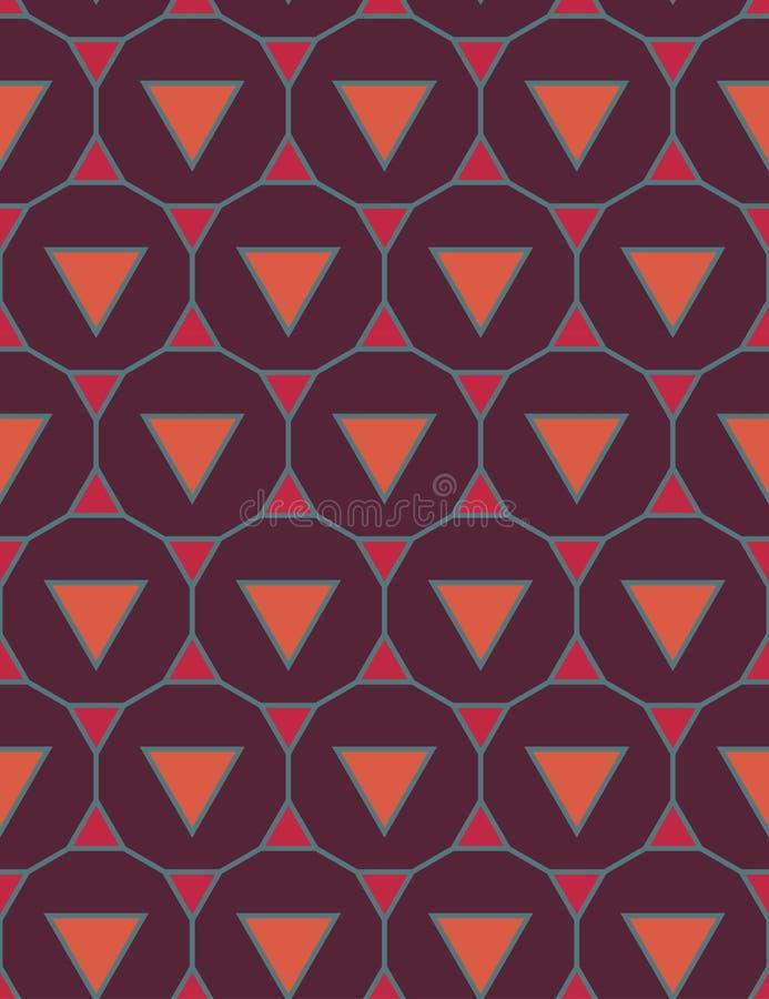 Wektorowy nowożytny bezszwowy kolorowy geometria wzoru trójboka wielobok, koloru purpurowy pomarańczowy abstrakcjonistyczny geome ilustracji