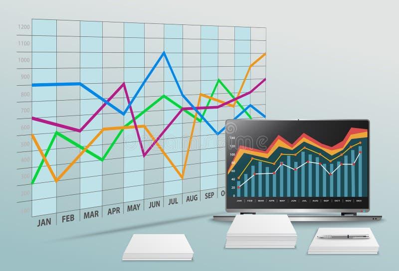 Wektorowy nowożytny biuro z biznesowymi dane i pieniężną księgowością ilustracja wektor