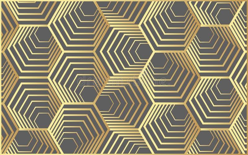 Wektorowy nowożytny geometria wzoru sześciokąt, abstrakcjonistyczny geometryczny tło, modny druk, monochromatyczna retro tekstura ilustracji