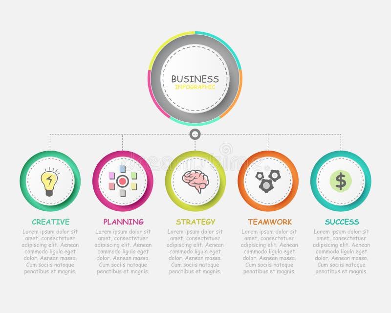 wektorowy nowożytny infographic z pięć krokami dla biznesowego sukcesu ilustracji