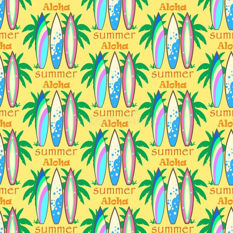 Wektorowy nowożytny kolorowy surfboard set royalty ilustracja