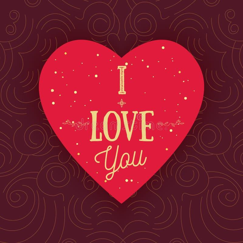 Wektorowy nowożytny kształta serce z słowami Kocham Ciebie na złotym kropkowanym backround Może używać dla sztandarów, promo mate royalty ilustracja