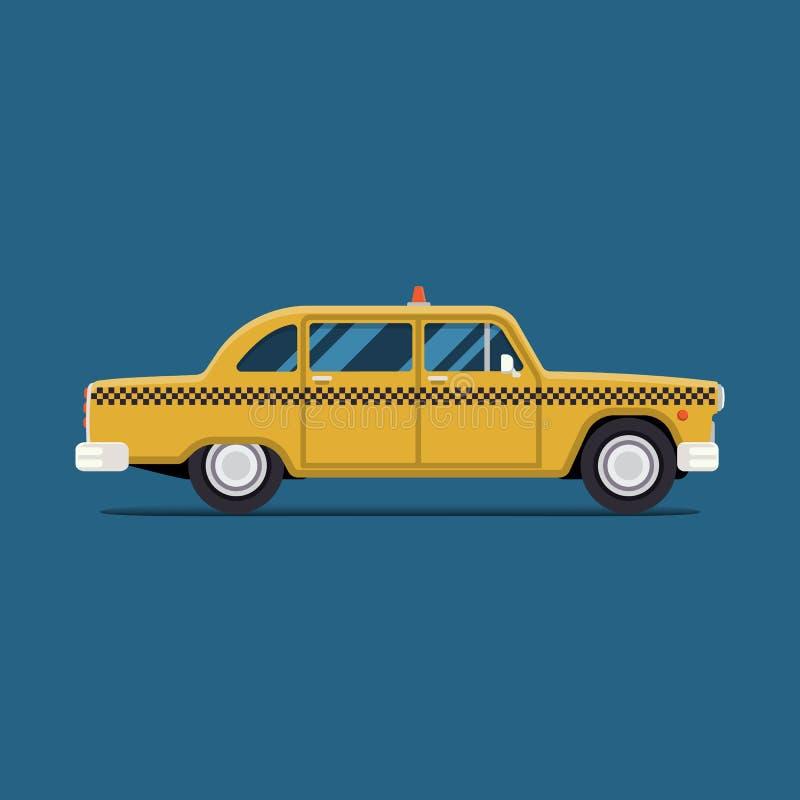 Wektorowy nowożytny płaski projekt Żółty taxi samochód Nowy Jork Miasto usługa transportu ikona ilustracji