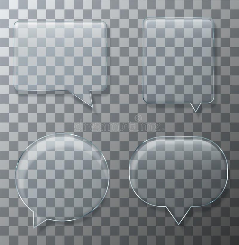 Wektorowy nowożytny szklany bąbel mowy set royalty ilustracja