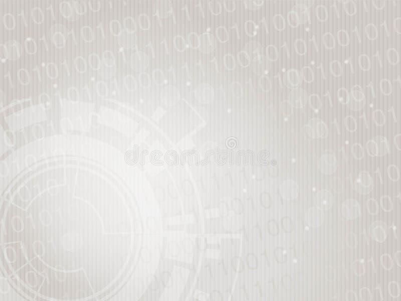 Wektorowy nowożytny technologia projekt, abstrakcjonistyczny futurystyczny tło Układu szablon z binarnym kodem i przekładni kołem ilustracji
