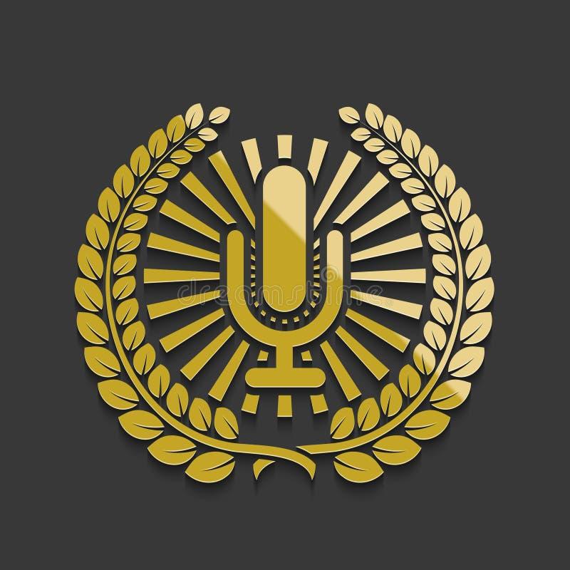 Wektorowy nowożytny złoty mikrofonu emblemat ilustracji