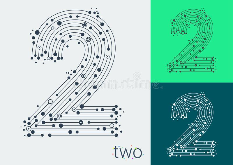 Wektorowy numer dwa na jaskrawym i kolorowym tle Wizerunek w stylu techno, tworzącego przeplatać linie i punkty royalty ilustracja