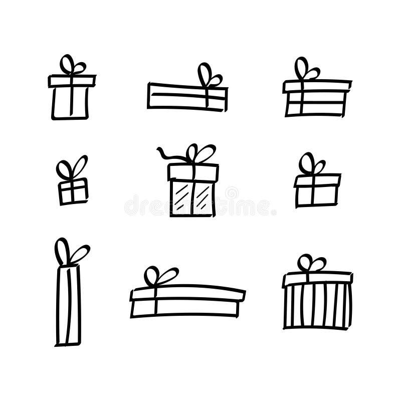 Wektorowy ołówek Rysować lota prezenta paczki Ustawiać royalty ilustracja