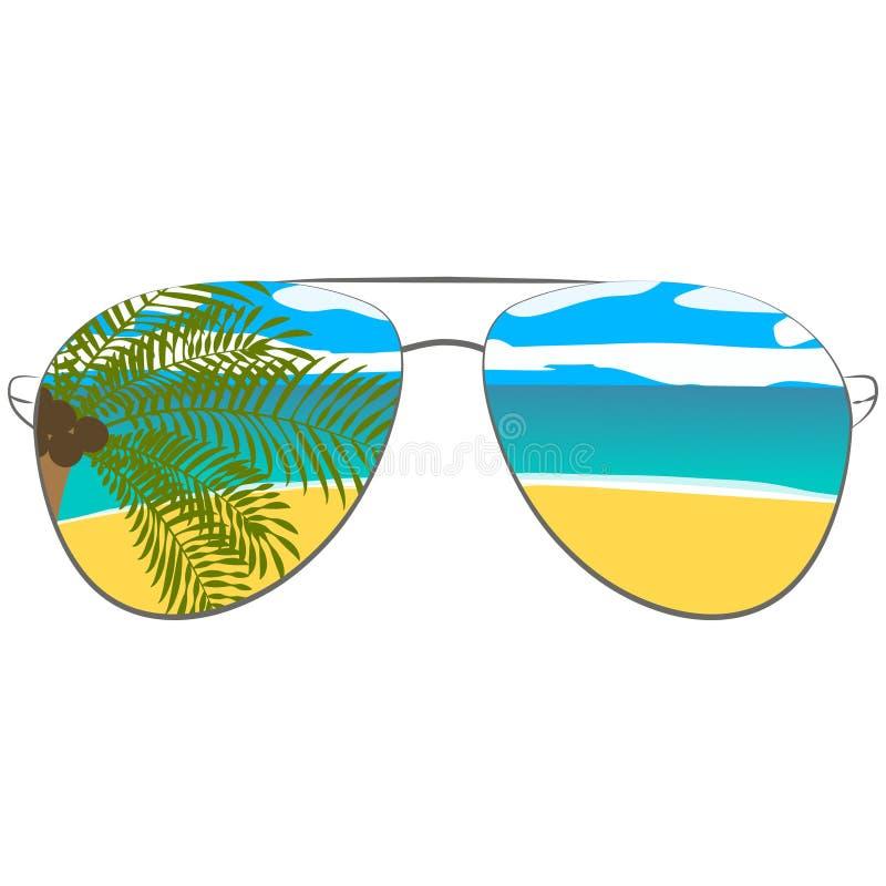 Wektorowy obrazek z okularami przeciwsłonecznymi Dla drukowanych rzeczy, plakat, bunner tło ilustracji