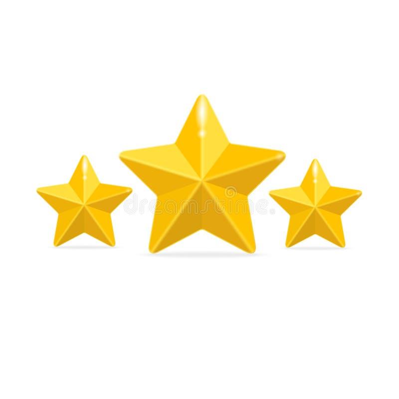 Wektorowy oceny trzy gwiazd pojęcie na czerni ilustracja wektor