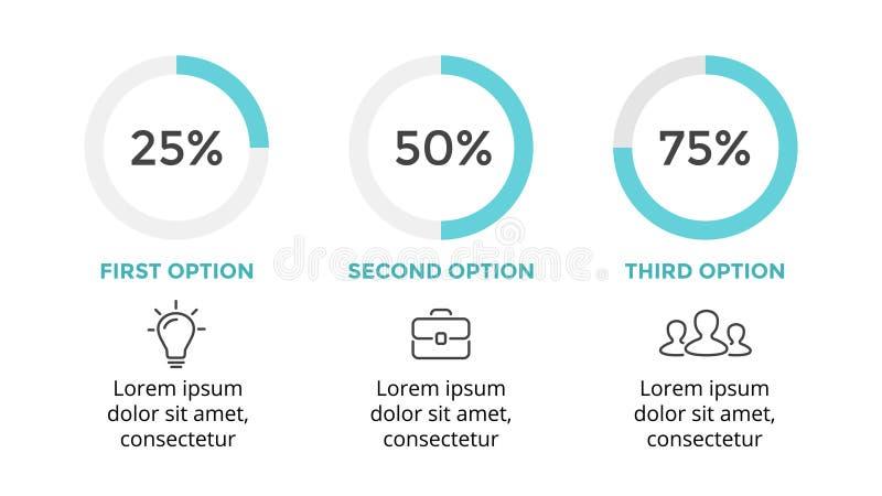 Wektorowy okrąg infographic, cyklu diagram, wykres, prezentaci pasztetowa mapa Biznesowy pojęcie z 3 opcjami, części, kroki royalty ilustracja