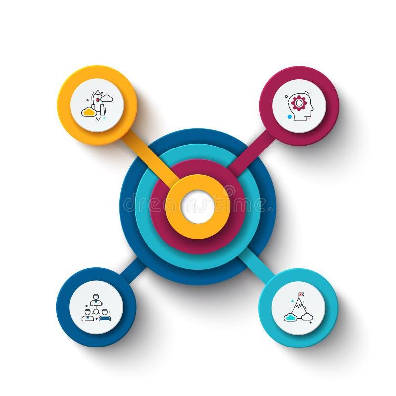 Wektorowy okrąg infographic Szablon dla cyklu diagrama, wykresu, prezentaci i round mapy, royalty ilustracja