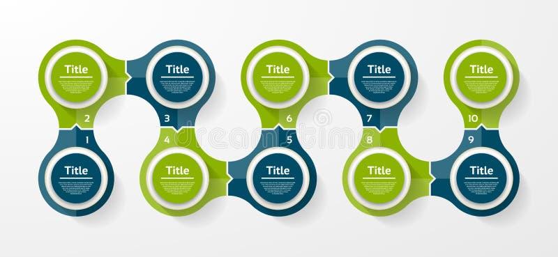 Wektorowy okrąg infographic Szablon dla cyklu diagrama, wykresu, prezentaci i round mapy, Biznesowy pojęcie z 10 opcjami, część ilustracja wektor