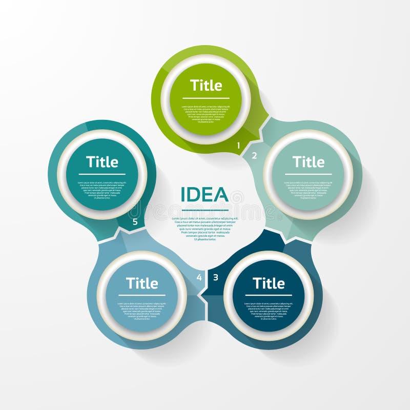 Wektorowy okrąg infographic Szablon dla diagrama, wykresu, prezentaci i mapy, ilustracji