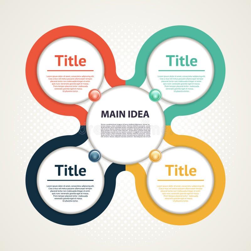 Wektorowy okrąg infographic Szablon dla diagrama, wykresu, prezentaci i mapy, ilustracja wektor