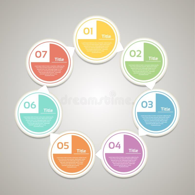 Wektorowy okrąg infographic Szablon dla diagrama, wykresu, prezentaci i mapy, Biznesowy pojęcie z 7 cyklicznymi opcjami royalty ilustracja