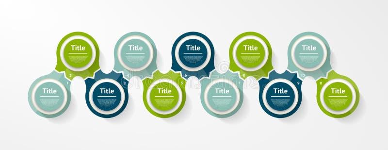 Wektorowy okrąg infographic Szablon dla diagrama, wykresu, prezentaci i mapy, Biznesowy pojęcie z 11 opcją, części, kroki lub ilustracji