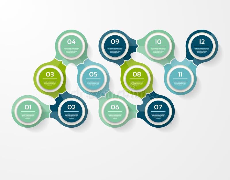 Wektorowy okrąg infographic Szablon dla diagrama, wykresu, prezentaci i mapy, Biznesowy pojęcie z 12 opcjami, części, kroki ilustracja wektor