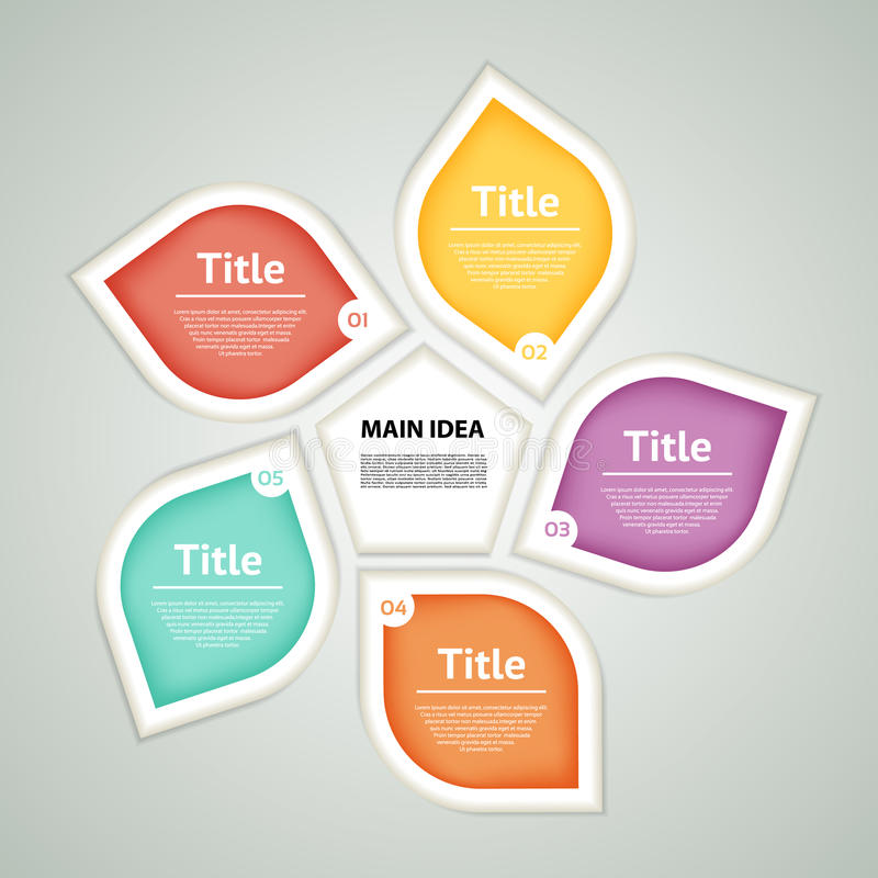 Wektorowy okrąg infographic Szablon dla diagrama, wykresu, prezentaci i mapy, Biznesowy pojęcie z pięć opcjami, części, kroczy o ilustracja wektor