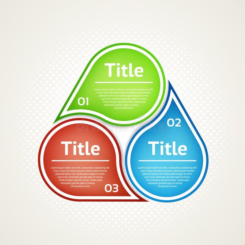 Wektorowy okrąg infographic Szablon dla diagrama, wykresu, prezentaci i mapy, Biznesowy pojęcie z trzy opcjami, części, kroki royalty ilustracja