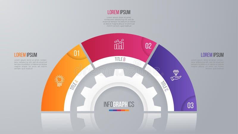 Wektorowy okrąg mapy szablon dla infographics 3 opci ilustracji