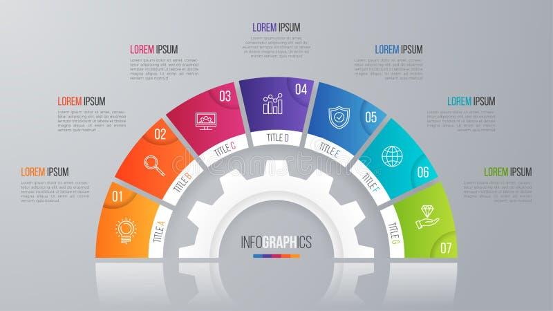 Wektorowy okrąg mapy szablon dla infographics 7 opcj ilustracja wektor