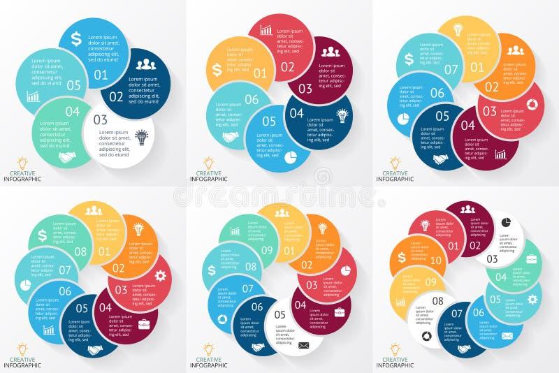 Wektorowy okrąg strzała infographics set, cyklu diagram, wykres, prezentaci mapa Biznesowy pojęcie z 5, 6, 7, 8, 9, 10 royalty ilustracja