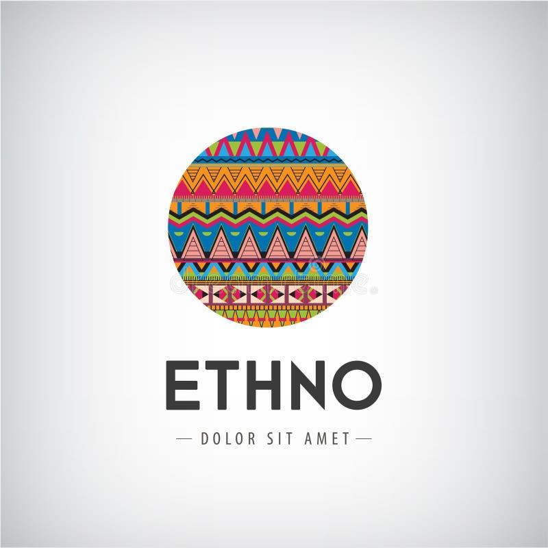 Wektorowy okręgu ethno, plemienny, modniś dekorujący ilustracja wektor