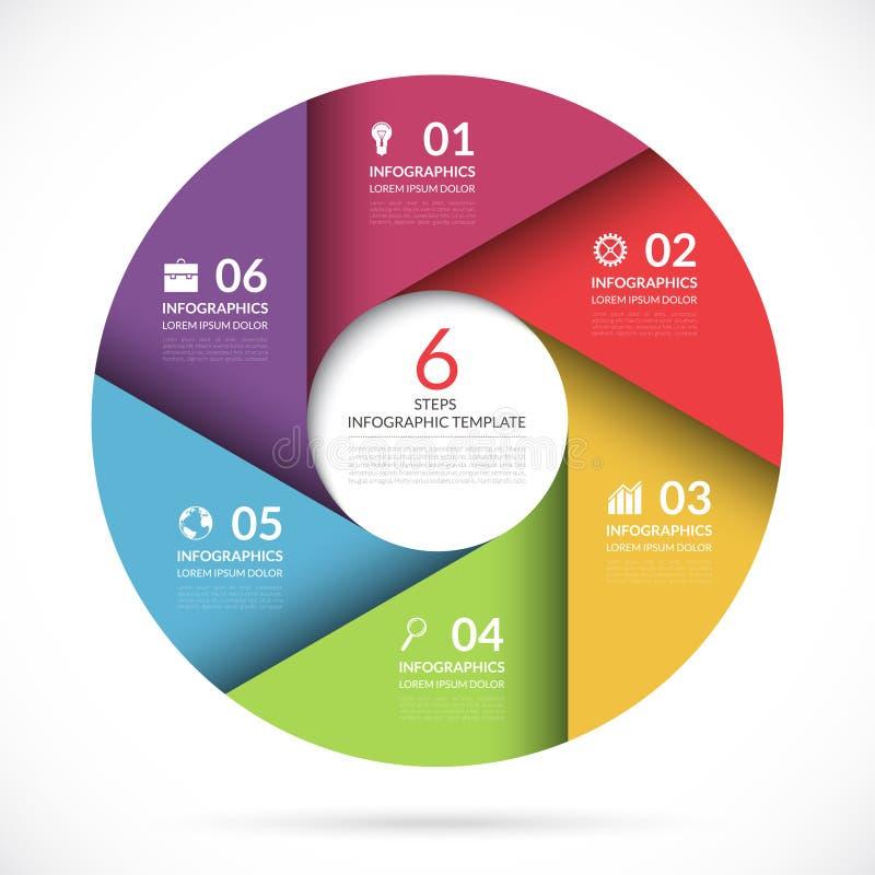 Wektorowy okręgu szablon dla biznesowego infographics ilustracja wektor