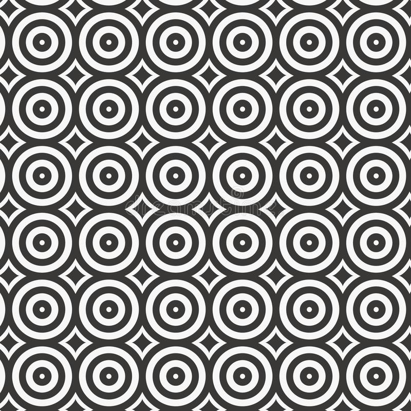 Wektorowy okręgu wzór, wielostrzałowy liniowy okrąg z abstrakcjonistycznymi gwiazdami, geometryczny tło ilustracji