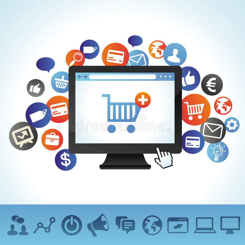Wektorowy online zakupy pojęcie ilustracja wektor