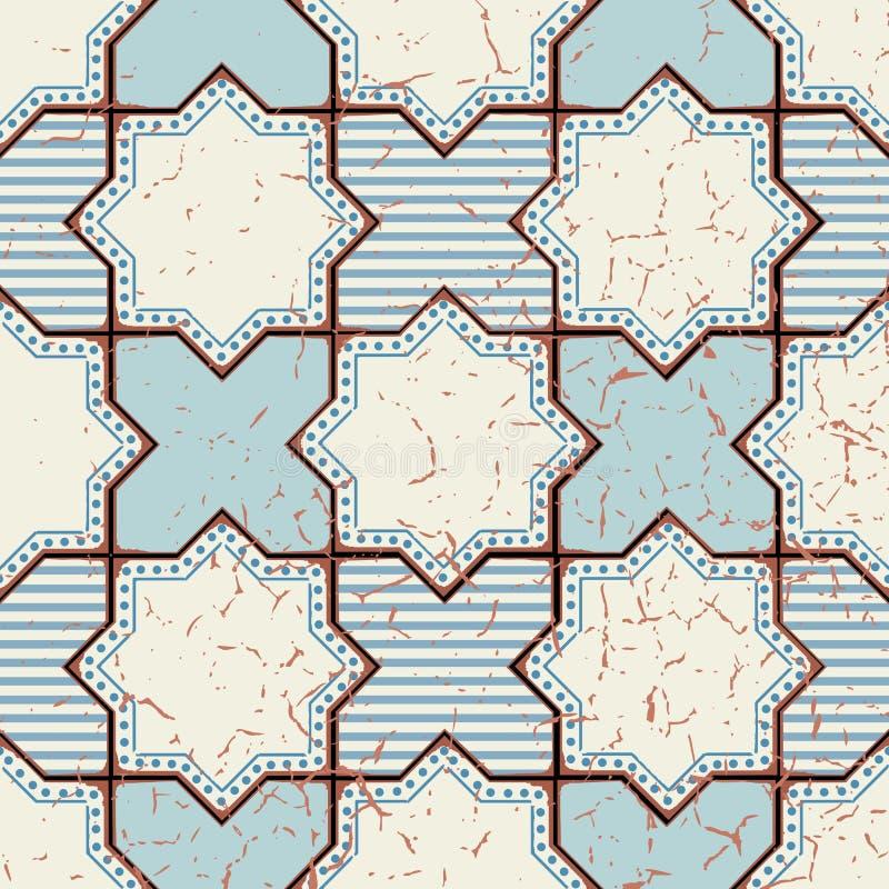 Wektorowy orientalny bezszwowy wzór Realistyczny rocznika marokańczyk ilustracja wektor