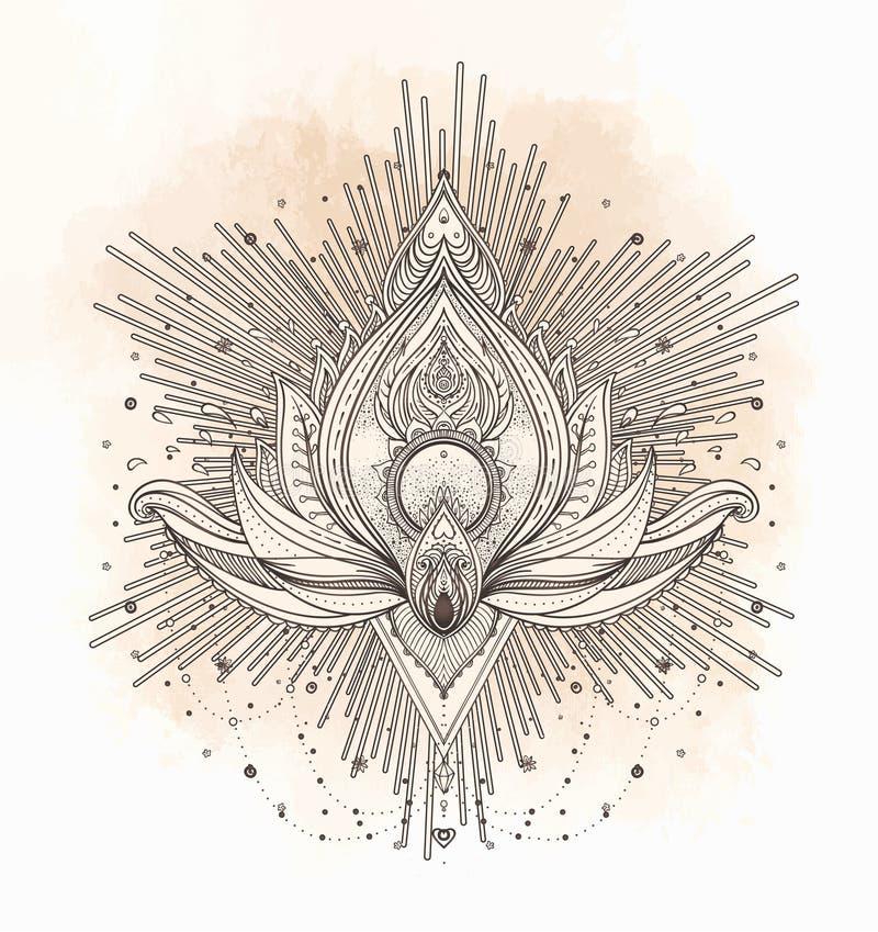Wektorowy ornamentacyjny Lotosowy kwiat, etniczna sztuka, wzorzysty Indiański pai obrazy stock