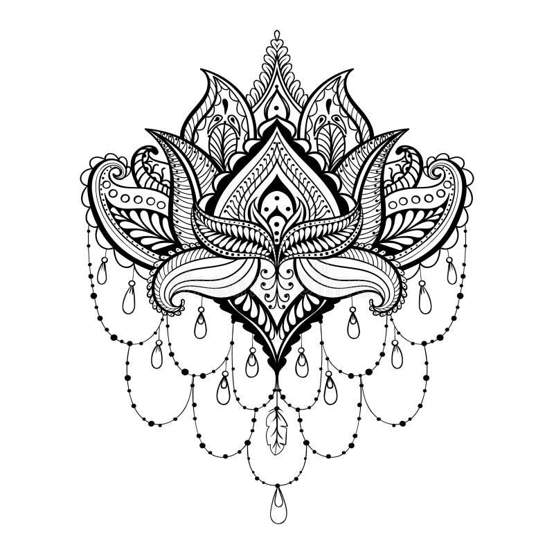 Wektorowy ornamentacyjny Lotus, etniczny zentangled henna tatuaż, wzór ilustracji