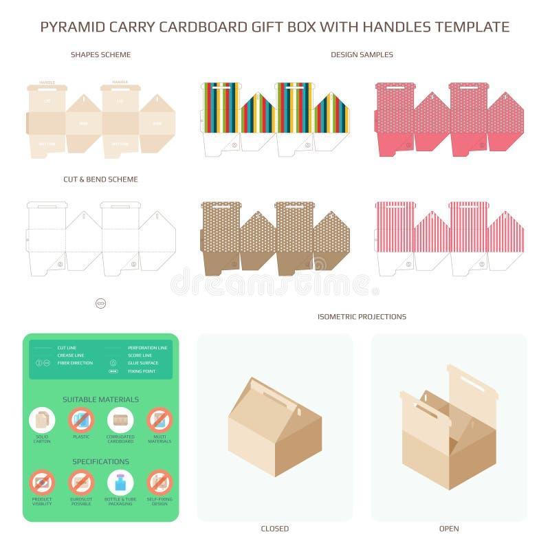 Wektorowy ostrosłupa styl niesie kartonowego prezenta pudełko z rękojeść szablonami ustawiającymi ilustracji