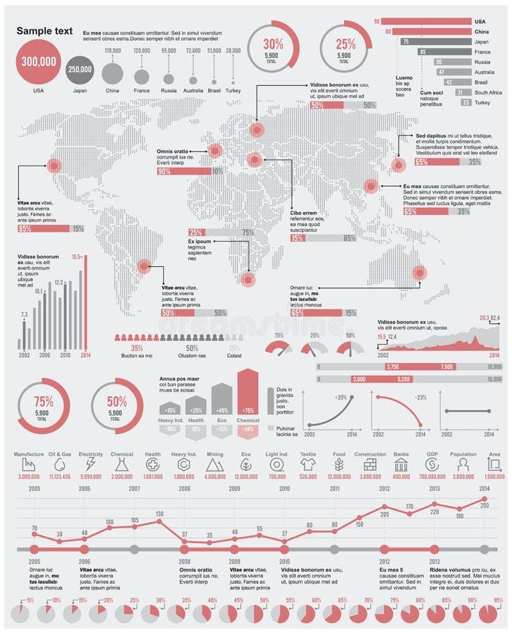 Wektorowy oszczędnościowy i przemysłowy infographic elem ilustracja wektor